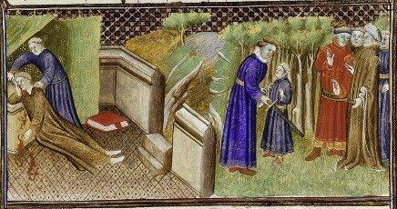 15世紀の『ノルマンディー年代記』の挿絵。左側ではロバートが殺人を犯しており、右側ではロバートが叙勲されている。