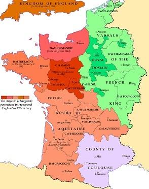 1154年のフランスにおけるプランタジネット朝の版図(茶、褐色の部分)