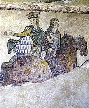 シノン城聖ラドゴンド礼拝堂の壁画に描かれた騎乗姿のアリエノール・ダキテーヌ