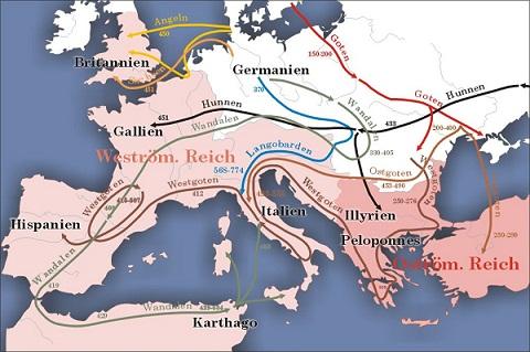 2世紀から5世紀にかけての民族移動の図
