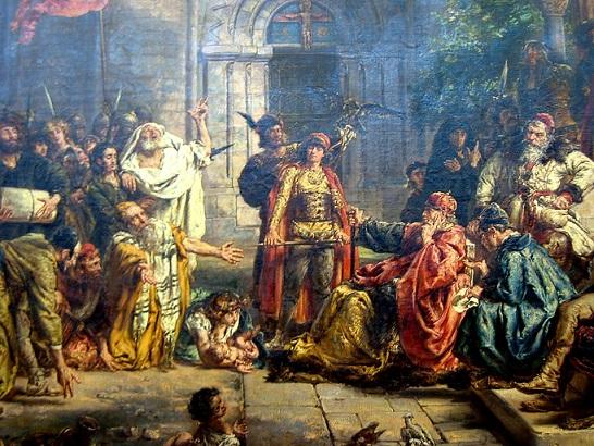亡命ユダヤ人たちを暖かく迎え入れるポーランドの君主ヴワディスワフ1世公と息子ボレスワフ そして、これを喜び公と神に感謝するユダヤ人たち(1096年)
