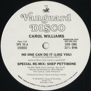 DG_CAROL WILLIAMS_NO ONE CAN DO IT LIKE YOU  REMIX_201608