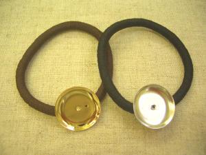 皿付ヘアゴム:皿20mm、茶ゴムと黒ゴム