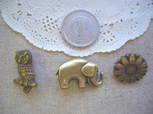 メタル:フクロウ、ゾウ、ひまわり