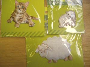 アップリケ ネコ、羊、シロクマ