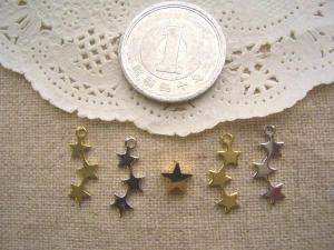 三連流れ星左右×2色、星のメタルビーズ