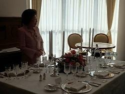 今田先生と正餐のテーブルセッティング