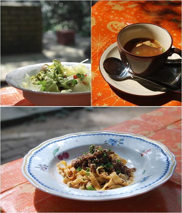 パスタ、サラダ、スープ