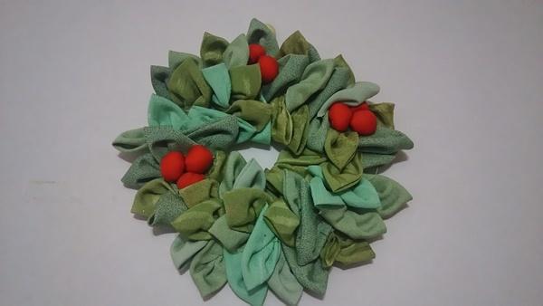 古布のクリスマスリース
