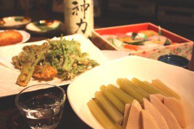 タラの芽の天ぷらと蕗の炊き合わせ献立