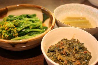 蕗の葉味噌と菜の花のからし酢醤油