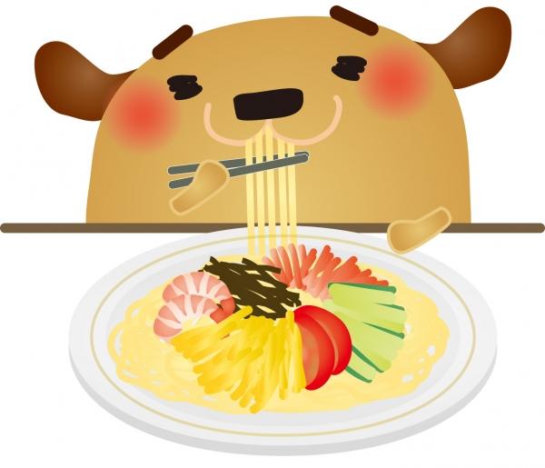 冷やし中華(麺、キャベツ、キュウリ、もやし)