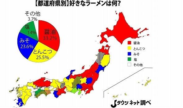 都道府県別「好きなラーメン」投票結果は地域差くっきり