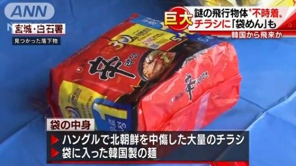 宮城で巨大バルーンを発見 北朝鮮中傷ビラと辛ラーメン入り