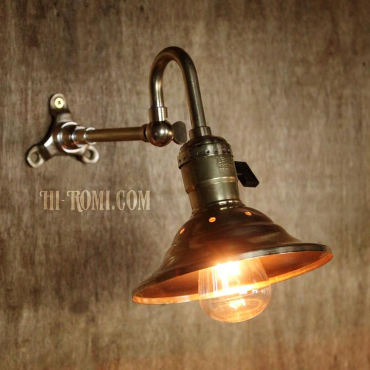 LEVITON社製パドルスイッチソケット&角度調整付ミニシェード真鍮製ブラケットA/工業系壁面照明ウォールランプライト