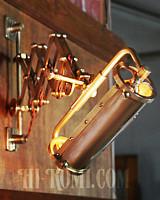 【数量限定】筒型シェード&角度調整付き真鍮製ダブルシザーアームライト4/二重蛇腹式ウォールランプ