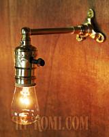 【数量限定】筒型シェード&角度調整付き真鍮製ダブルシザーアームライト1/二重蛇腹式ウォールランプ