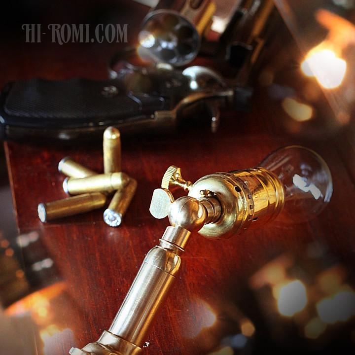 bullet lamp brass steampunk バレット 弾丸 銃弾 照明 工業系 インダストリアル ミニ ブラケット 壁面照明 ウォールランプ