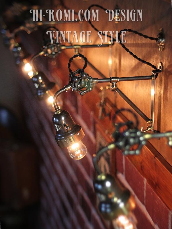 当店オリジナルのスチームパンク/インダストリアル照明。ベル型シェード付き工業系壁掛ライトです。 Hi-Romi.com ハイロミドットコム 20161205-1
