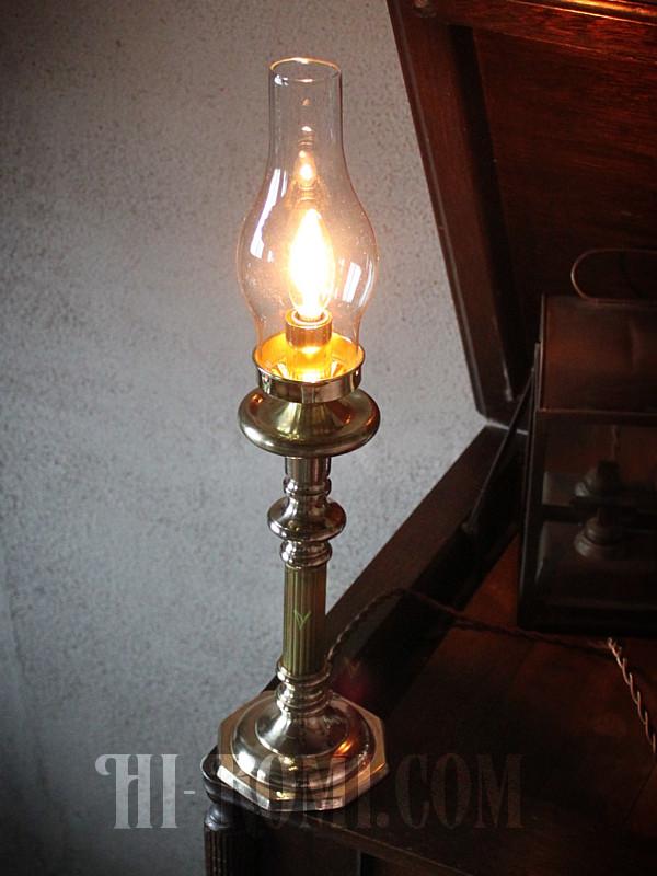 ガラス チムニー 真鍮 卓上 ランプ ライト コロニアル ヴィクトリアン