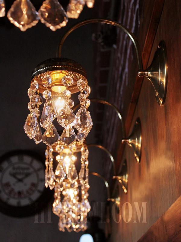 アメリカヴィンテージガラス製フレンチカットプリズム付コロニアルブラケットランプA/ヴィクトリアンアンティーク壁面照明