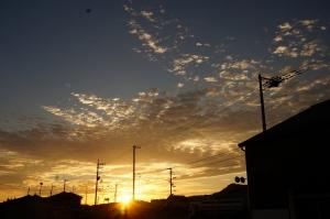 うろこ雲と日の出2