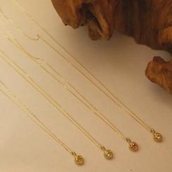 10金 天然石ネックレス