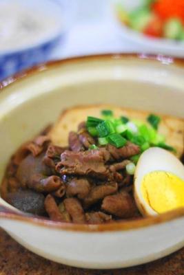 赤味噌仕立て もつ煮豆腐2