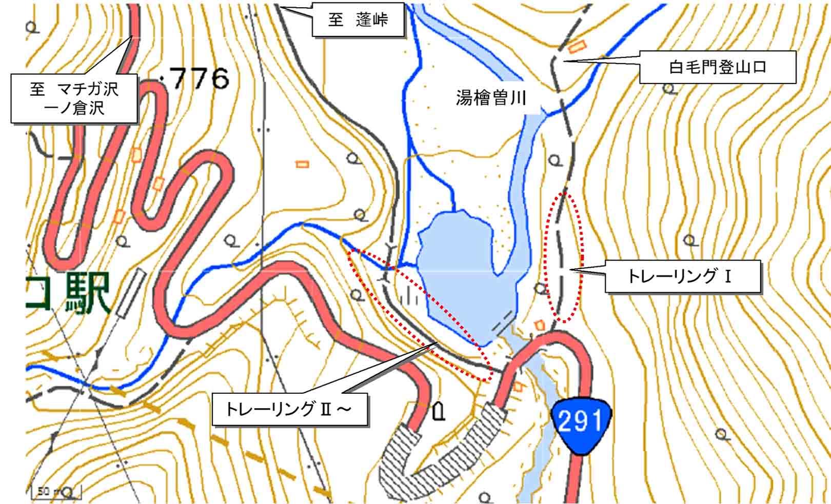 湯檜曽川沿のトレーリングエリア地図