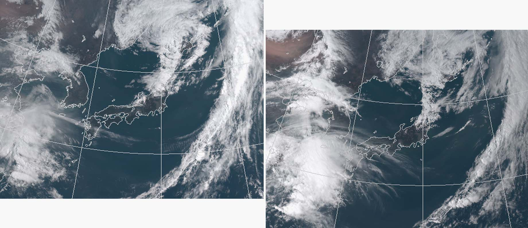 5月5日の気象衛星可視画像(09と15時)