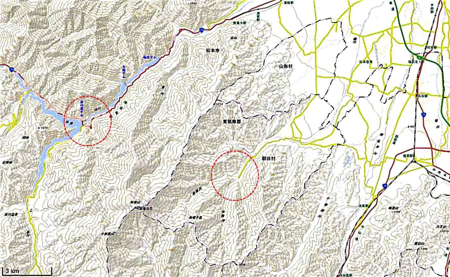 奈川と朝日村の位置