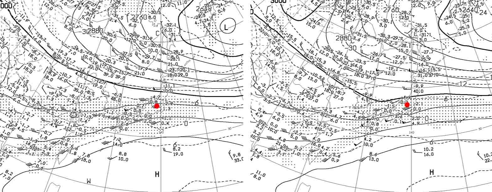 1月29日9時と21時の700hP天気図
