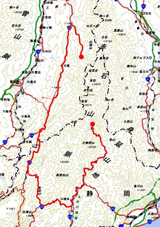 三峰川から大井川へ(地図)