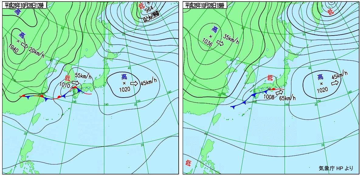 雨の移動日(天気図)