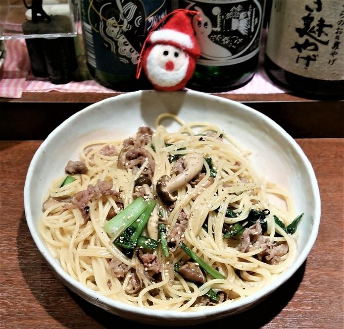 20161206 ぶどう牛と小松菜のペペロンチーノ