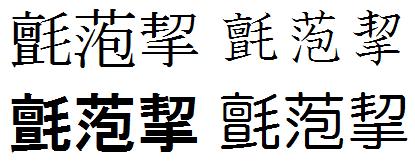 フォントによる字形の変化例