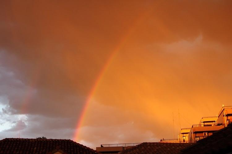 20161223虹と夕焼け-1a
