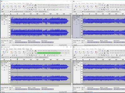 Audacity で4つの波形を比較試聴