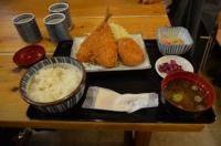 アジフライとコロッケ定食161021