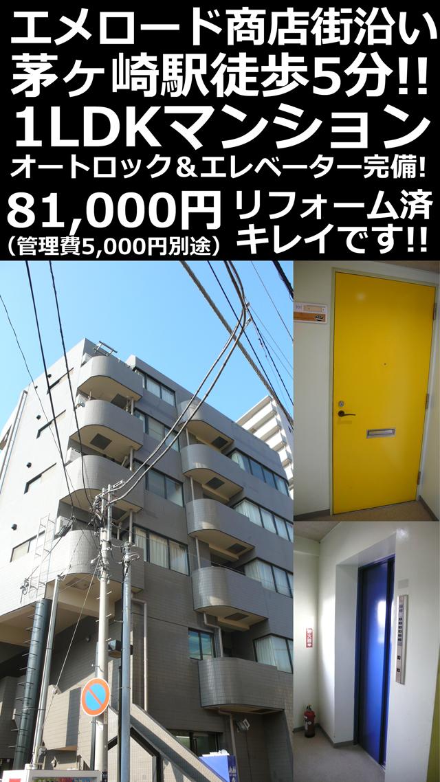 ■物件番号4752 駅5分!商店街沿いのオートロック付マンション!3階カド!リフォーム!1LDK!8.1万円!