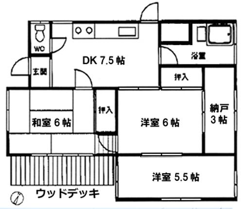 ■物件番号P4734 昭和レトロ平屋!ペット可!3DK+納戸!ウッドデッキ有り!都市ガス!8万円!!!