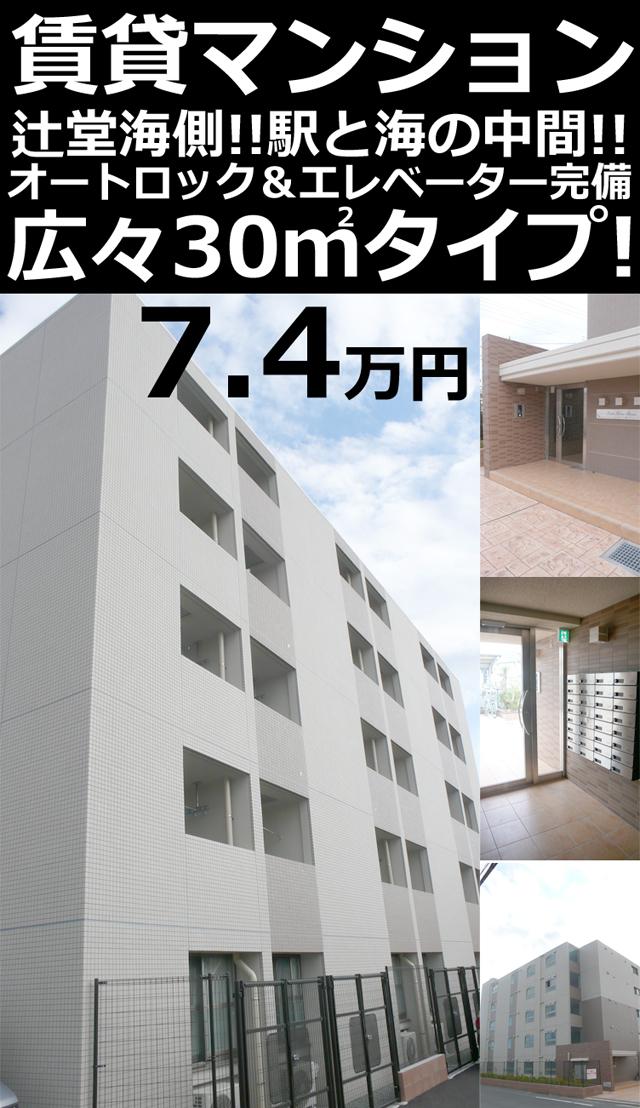 ■物件番号4746 辻堂海側!オートロック完備!マンション!広々30平米!3階カド!7.4万円!