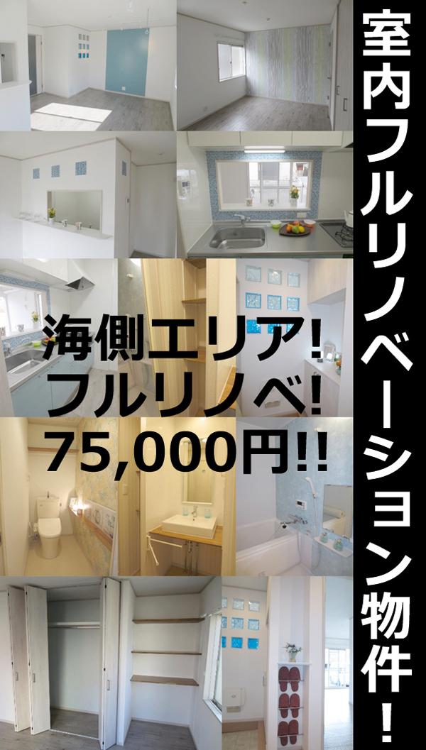 ■物件番号4763 室内フルリノベーション!茅ヶ崎海側エリア!オシャレ1LDK!格安の7.5万円!