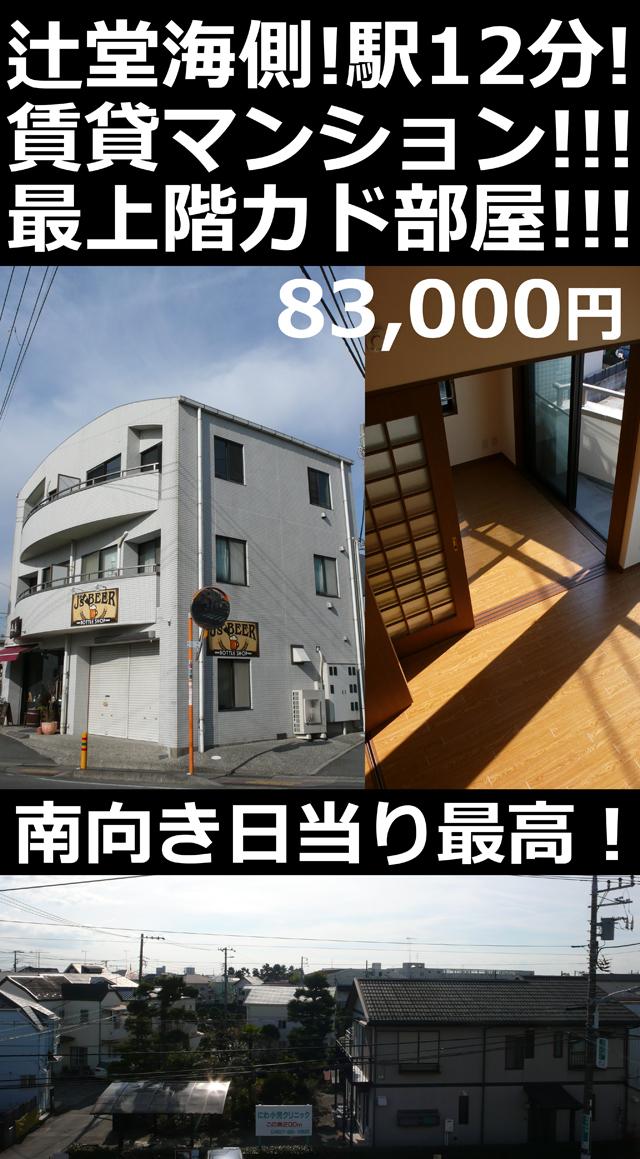 ■物件番号4768 辻堂海側!駅12分!コンクリート造マンション!最上階カド!カップル1LDK!8.3万円!