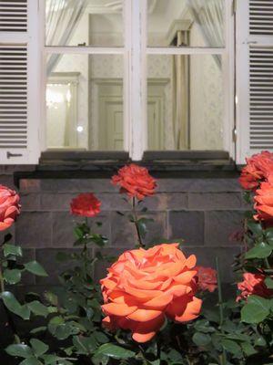 洋館の内部は照明が点灯しており、窓越しに内部が見える。