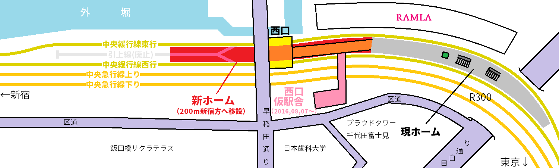 飯田橋駅の移設前後の位置