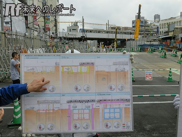 京王井の頭線橋梁の架け替え手順を示したパネル。背後がその現場。