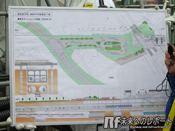 駅前広場と補助54号線(左側の斜めに横切る道路)の整備計画