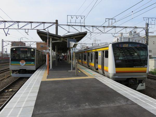 左が南武支線の205系1000番台電車、右が南武線本線のE233系8000番台電車。