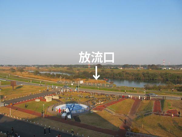 龍Q館屋上から江戸川を見る。↓の下に放流口がある。